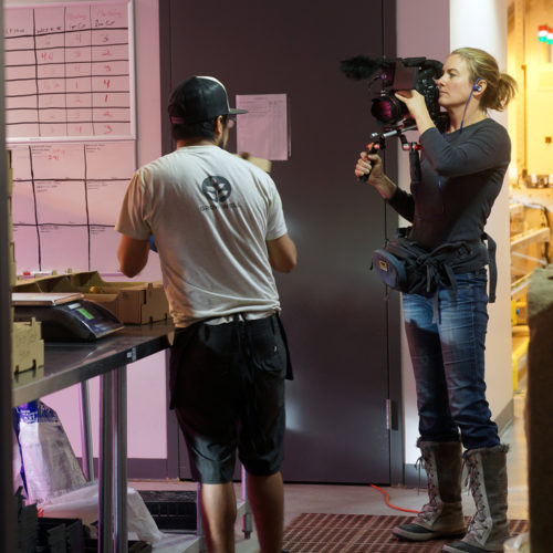 Photo of Filming Vertical Harvest Worker (click for larger)